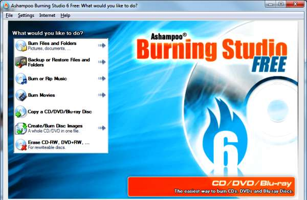 Ashampoo Burning Studio Free dvd burning