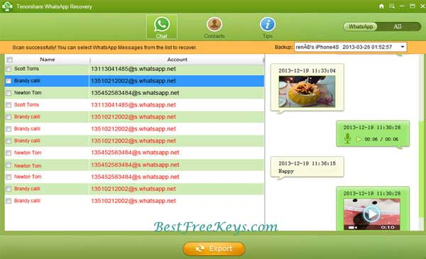 Tenor share WhatsApp Recovery