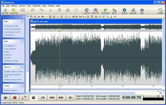 Wavepad Free Audio Editor 2016