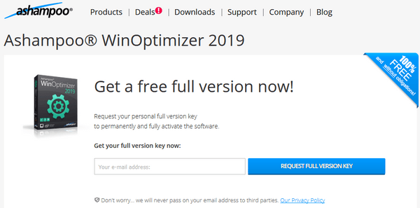 Ashampoo WinOptimizer 2019 giveaway activation code