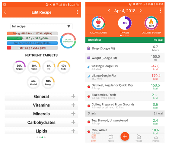 cronometer vegan food tracking app